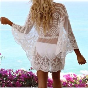 New! Boho sheer lace swim cover up